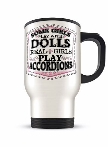Real Girls Play... Novelty Gift Aluminium Travel Mug (Brushed/White) Variation